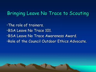 Bringing Leave No Trace to Scouting