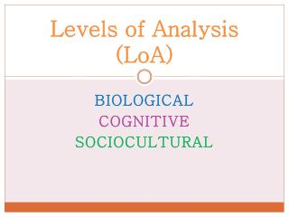 Levels of Analysis ( LoA )