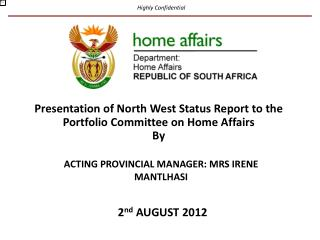 ACTING PROVINCIAL MANAGER:  MRS IRENE MANTLHASI