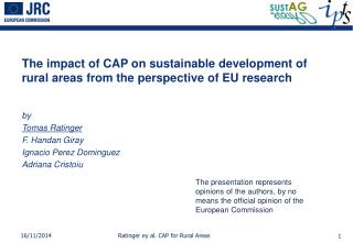 The impact of CAP on sustainable development of rural areas from the perspective of EU research