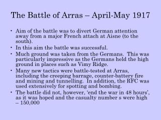 The Battle of Arras – April-May 1917