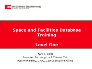 Space and Facilities Database Training Level One
