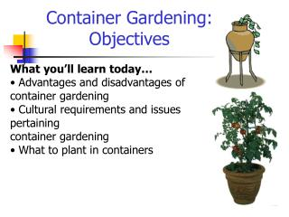 Container Gardening: Objectives