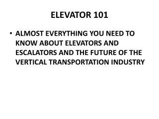 ELEVATOR 101