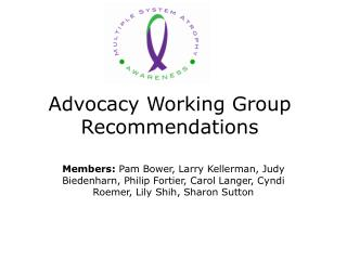 Advocacy Working Group Recommendations