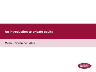 An introduction to private equity