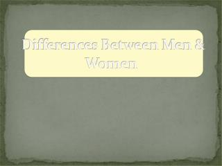 Differences Between Men & Women