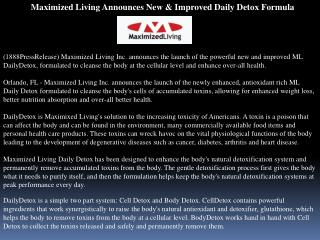 Maximized Living Announces New & Improved Daily Detox Formul