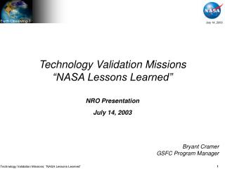 "Technology Validation Missions ""NASA Lessons Learned"""