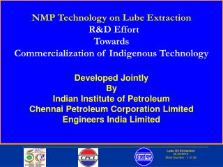 NMP Technology on Lube Extraction    R&D Effort  Towards