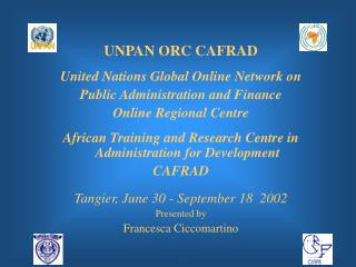 UNPAN ORC CAFRAD United Nations Global Online Network on  Public Administration and Finance