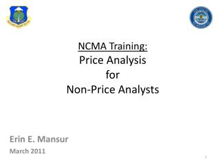 NCMA Training: Price Analysis  for Non-Price Analysts