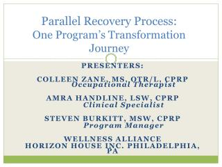 Parallel Recovery Process: One Program's Transformation Journey