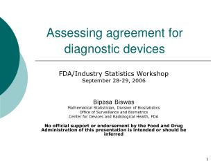 Assessing agreement for diagnostic devices