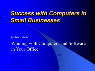 Success with Computers in Small Businesses