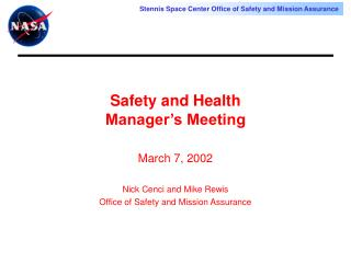 Safety and Health  Manager's Meeting