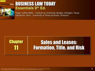 Sales and Leases:  Formation, Title, and Risk