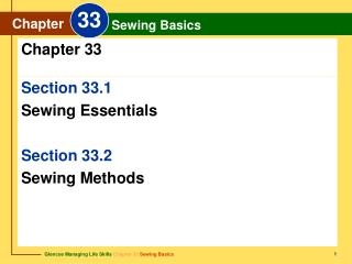 Section 33.1 Sewing Essentials Section 33.2  Sewing Methods
