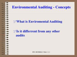 Environmental Auditing - Concepts