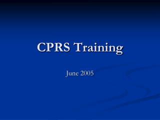 CPRS Training