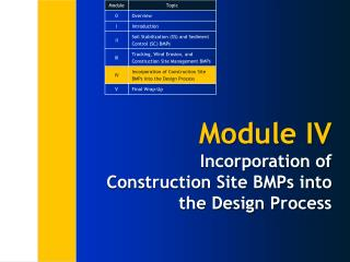 Module IV Incorporation of  Construction Site BMPs into the Design Process