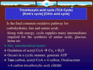 Tricarboxylic acid cycle (TCA Cycle)  [Kreb's cycle] [Citric acid cycle]