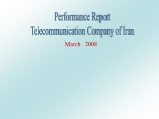 Performance Report Telecommunication Company of Iran