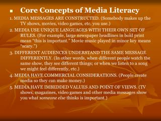 Core Concepts of Media Literacy