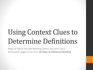 Using Context Clues to Determine Definitions
