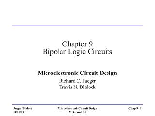 Chapter 9 Bipolar Logic Circuits