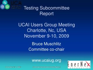 Testing Subcommittee Report UCAI Users Group Meeting Charlotte, Nc, USA November 9-10, 2009