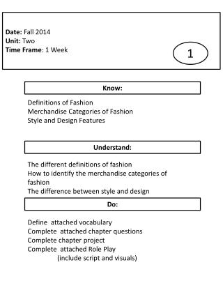 Definitions of Fashion Merchandise Categories of Fashion Style and Design Features