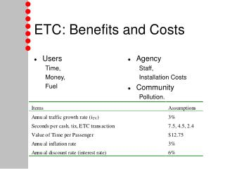 ETC: Benefits and Costs