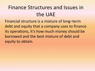 Finance Structures and  Issues in the UAE