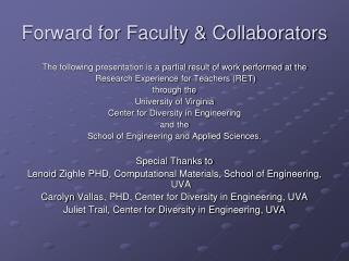 Forward for Faculty & Collaborators