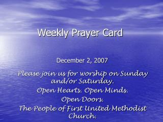 Weekly Prayer Card