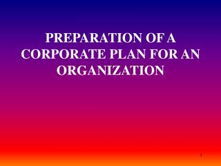 PREPARATION OF A CORPORATE PLAN FOR AN ORGANIZATION