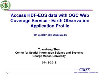 Access HDF-EOS data with OGC Web Coverage Service - Earth Observation Application Profile