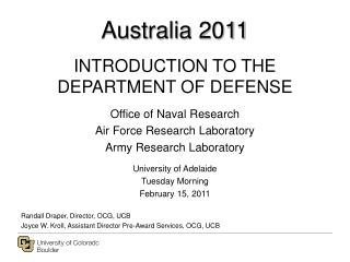 Australia 2011 INTRODUCTION TO THE DEPARTMENT OF DEFENSE