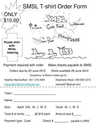 SMSL T-shirt Order Form
