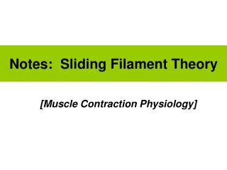Notes:  Sliding Filament Theory