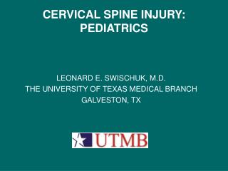 CERVICAL SPINE INJURY: PEDIATRICS