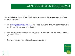 WHAT TO DO BEFORE GREEN OFFICE WEEK WE GIVE YOU EMAIL TEMPLATES