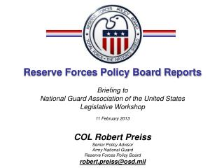 Reserve Forces Policy Board Reports Briefing to  National Guard Association of the United States