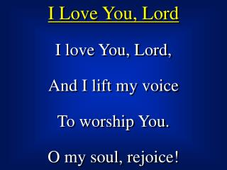 I Love You, Lord