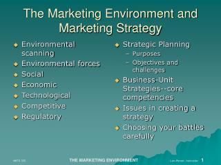 The Marketing Environment and Marketing Strategy
