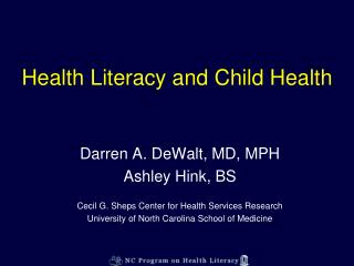 Health Literacy and Child Health