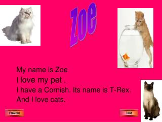 My name is Zoe I  love my pet  . I have a Cornish. Its name is T-Rex. And I love cats.