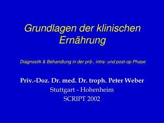 Grundlagen der klinischen Ernährung  Diagnostik & Behandlung in der prä-, intra- und post-op Phase
