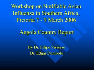 Workshop on Notifiable Avian Influenza in Southern Africa, Pretoria 7 - 9 March 2006